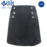 Newstyle Black A-Line Double-Breasted Rear-Zipper Short Fashion Women Skirt