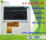 "4.3"" 480X272 RGB 40pin Option Touch Screen, TFT LCD Display"