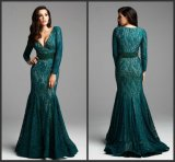 Green Mother Dress Long Lace Party Evening Gowns B42
