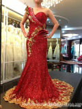 One-Shoulder Party Prom Gowns Gold Red Sheath Evening Dresses Z7018