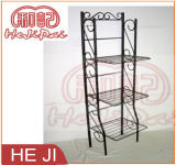 Powder Coating Black Foldable Wire Shelf with Three Tiers