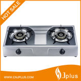 Double Burner Gas Stove with Bigger Fire, Stainless Steel (JP-GC209)
