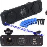 Dual USB Car Charger Motorcycle Waterproof Cigarette Lighter Socket Plug Power Adapter Voltmeter Digital Display for Phone iPod