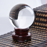 Large Crystal Sphere Ball with Wooden Base Fengshui Home Decoration