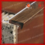 Non Slip Wooden Grain Aluminum End Trim for Stair Nose