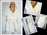 Outwear Hoody Jacket White Long Pattern Belt Overcoat for Women/Lady