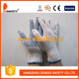 Ddsafety 2017 Bleach Cotton Polyester String Knit Blue PVC Dots Work Glove
