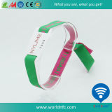 Printed One Time Use Woven Band Ntag213 RFID Wristband for Party Events
