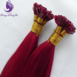 Red Color Silky Straight Virgin Remy Prebonded Flat Tip Hair Extension