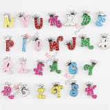 Alloy Metal Colorful Initial Letters Slide Charm Beads for Children Fashion Jewelry (JP08-008)
