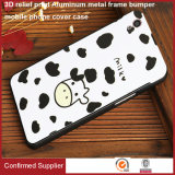 3D Relief Print Acrylic PC Back Aluminum Metal Frame Bumper Mobile Phone Cover Case for Oppo R9