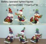 Sleighing Sana and Snowman Christmas Gift LED-3asst.