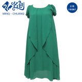 Green Stacking-up Demure Round-Neck Middle-Aged Fashion Dress