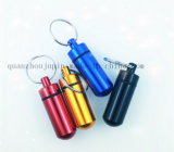 OEM Metal Emergency Pill Bottle Keyring Keychain Key Ring Chain