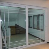 Factory Cheap Price Fiberglass Plastic UPVC Profile Frame Sliding Door with Grill Inside