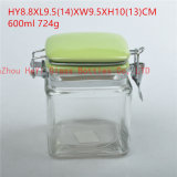 600ml Square Food Glass Seal Jar Candy Seal Jar Sealing Container