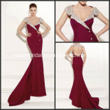 Burgundy Pageant Dresses Cap Sleeves Mermaid Evening Prom Formal Dresses T92474