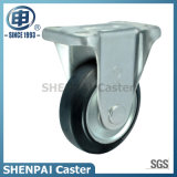 6 Inch Black Steel-Core Rubber Rigid Caster Wheel