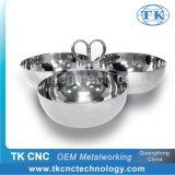 Stainless Steel Metal Tableware 3-Bowls Heart Shape Handle Triple Tray