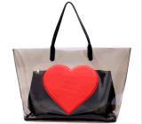 Red Heart Fashion PVC Tote Bag Handbag (BDMC187)
