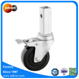 Square Stem Solid Rubber Caster Wheel with Total Lock Brake