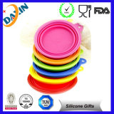 Silicone Foldable Storage Bowl with Pink Cover