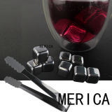 Stainless Steel Beer Cooler Ice Cube Stones with Ice Tongs