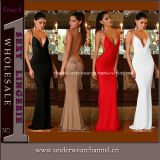 V-Neck Backless Ladies Maxi Party Prom Gown Evening Dress (4190)