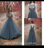 Grey Tulle Party Evening Dresses Beaded Top V-Back Formal Prom Gowns Z1021