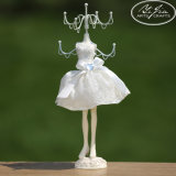 Polyresin Decoration Girl's Gifts Jewelry Display Mannequin Necklace Hanging Doll with White Lace Dress