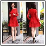 Fashion Design Women Red Celebrity Lace Dress Party Dress
