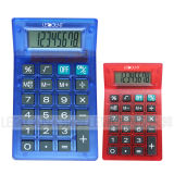 8 Digits Dual Power Transparent Pocket Calculator with Rubber Keys (LC325)