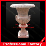 Red Marble Carved Flower Pot Flower Vase for Garden
