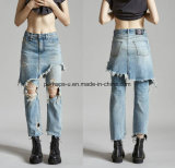 Fashion Women Fake 2-Piece Long Ripped Jeans Ladies Pants