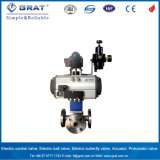 3 Way T Type Flange Connection Pneuamtic Ball Valve with Limit Switch