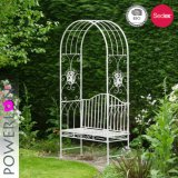 Outdoor Wrought Iron Garden Arch with Bench
