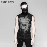 Punk Black Rivets Puff Printing Knitted Collar Men Sleeveless Vest (T-470)