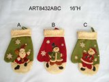 Christmas Decoration Santa Snowman Stocking Mitten, 3asst