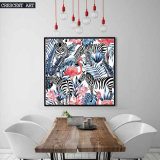 Pop Art Wildlife Flamingo Zebra Picture Flowers Canvas Print