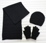 Promotional Acrylic Knitted Hat Glove Scarf Winter Warm Set (YKY4624-2)