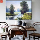 Spring Green Riverside Oil Painting for Home
