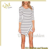 High Quality Women Autumn Clothing Wholesale Asymmetric Striped Dress