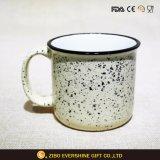 Custom Design Enamel Cup in Fleck Sand White 400ml