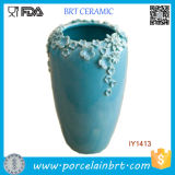 Sightly Decorated with Little Blue Flowers Ceramic Decoration Vase