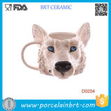 Novelty Wolf Head Shape Ceramic Mug Birthday Gift