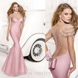 New 2014 Tarik Ediz Vestido Longo Sexy Prom Dress Mermaid Open Back with Beading (CL62)