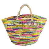 Multicoloured Woven Straw Bag