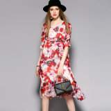 Silk Floral Loose Elegant Women Evening Dress with Ruffle