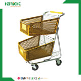Hypermarket Plastic Shopping Trolley Cart for Retail Store