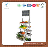 Customized Double Sided Display Tower Rack with Chalkboard